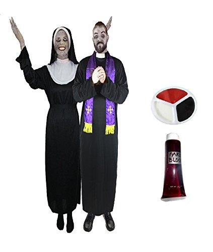 Paare Zombie Kostüm - ILOVEFANCYDRESS Priester+Nonne Zombie Paare KOSTÜME VERKLEIDUNG =BISCHOF Kardinal OBERIN=BEINHALTET -2 KOSTÜME + 2 X Make UP + 2 TUBEN KUNSTBLUT=Nonne-MEDIUM + Priester-MEDIUM