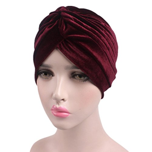 Beauty Pleated Stretch Ruffle Women's Velvet Chemo Turban Hat Wrap Cover