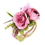 Westeng braccialetto fiore polso regolabile sposa o damigella simulazione fiori fiore all'occhiello decorativo per matrimoni feste o danze (D)