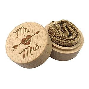 Amosfun Holz Ehering Box Ringträger Box Verlobungsring Halter (Herr und Frau)