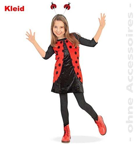 Marienkäfer Kleid 104 Käfer Trägerkleid mit Pannesamt + Plüsch Fasching Kinder - Kostüm