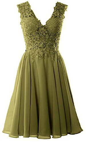 MACloth Gorgeous V Neck Cocktail Dress Short Lace Prom Homecoming Formal Gown Olive Green
