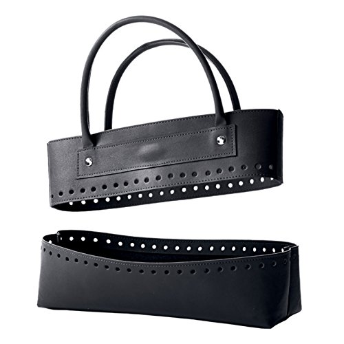 KnitPro oben und unten Hand Block bedruckter Stoff Storage Solutions Aufnäher Kit Tasche in Kunstleder, schwarz (Unten Tasche)