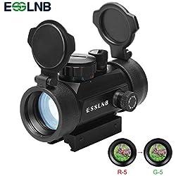 ESSLNB Viseur Airsoft Rouge et Vert 5 Réglages de Luminosité Point Rouge Chasse avec Montage sur Rail Picatinny de 11 mm/ 20 mm
