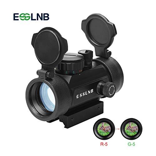 ESSLNB Red Dot Visier für 11mm/22mm Schiene Airsoft Visier mit Flip up Schutzkappe Montage für Jagd Softair und Armbrust