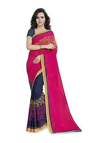Anand Sarees Faux Georgette Pink & Multi Colored Printed Saree With Blouse Piece (1190_1)  available at amazon for Rs.269