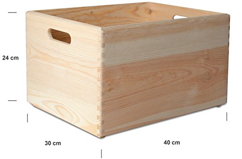Creative Deco XXL Large Plain Wooden Storage Crate Box | 40 x 30 x 24 cm | with Handles | Unpainted Unfinished Wood | Perfect for Documents, Valuables, Toys & Tools