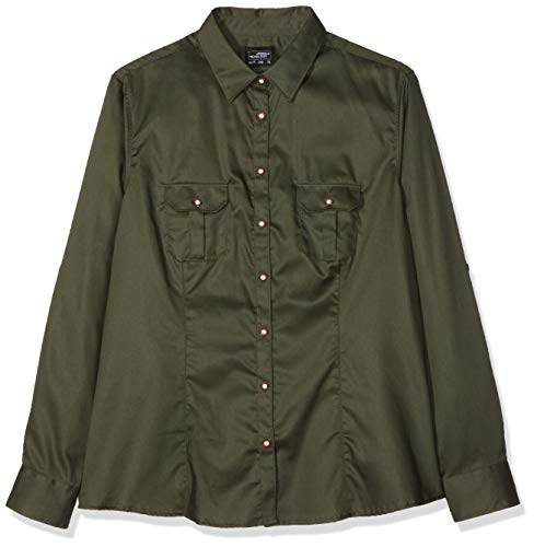 Plain Olive (James & Nicholson Damen Ladies' Traditional Shirt Plain Bluse, Grün (Olive), 40 (Herstellergröße: XL))