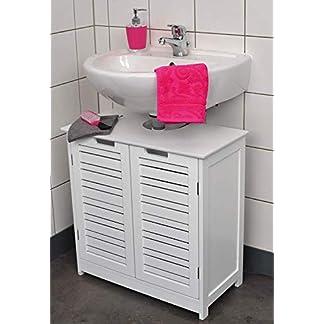 41768ekRVCL. SS324  - Mueble para debajo del lavabo - 2 puertas y 1 estantería - Diseño puro y sencillo