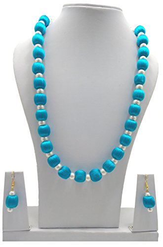 MDS Fashions Silk Thread Necklace with White Pearls and Hanging Earrings for Beautiful Woman (MDS-1035) (Sky Blue)