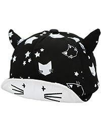 2c28b6afb FemmeStopper Cute Cat Baby Hat Cotton Baby Boys Girls Cap Adjustable Horns  Black White Unisex Cap