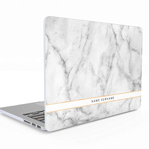 Personalisierte Schützhülle First Name Initiale Text Custom Weiß Marmor für MacBook Pro 13 Zoll with or Without Touch Bar Model: A1706 / A1708 / A1989 Release 2016-2018 Schütz Hülle Hard Case Cover 83 Hard Case