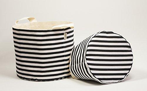 Leinwand Baumwoll-Gewebe Korb. Korb für Speicher. Stoff-Korb Streifen schwarz / weiß (Schwarz-speicher-körbe)