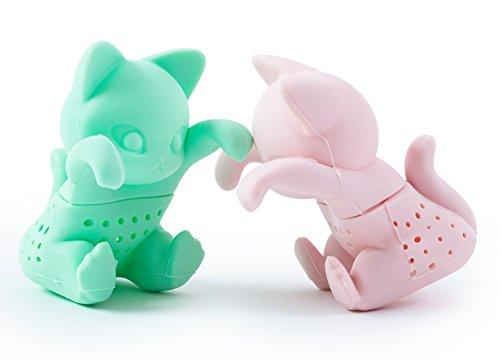 –Loose Leaf Kräutertee Sieb für eine Tasse oder Cup–Grau und Rosa Cute Tee Filter Silikon in einem Set von zwei? pink, mint (Cute Tee-sets)