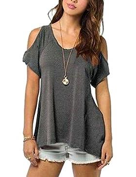 ZiXing Mujeres Casual Tallas Grandes Camiseta Slim Fit V Cuello Off Shoulder Túnica Tops