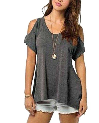 Zixing donna camicia spalla-off tunica tops orlo irregolare moda t-shirt grigio scuro 3xl