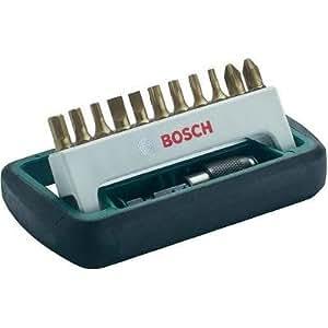 Bosch 2608255992 Set de 11 embouts de vissage qualité titane avec porte-embout PH/PZ/Torx/Plat/HEX