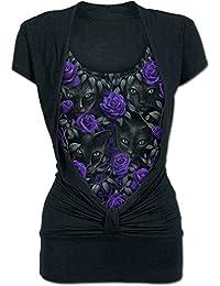Spiral T-shirt noué à manches courtes 2 en 1 pour femme Motif les veilleurs d51a6ff8aea3