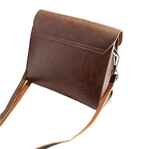 Lawevan Es Taschen Kollektion Damen-Damen PU-Leder Messenger Schultertaschen Braun
