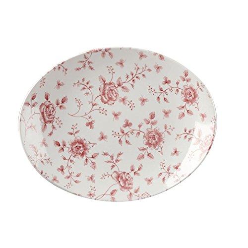 Churchill Super Verglastes gf306Vintage Prints Oval Teller, 317mm, cranberry Rose Print (Pack von 6) - Cranberry-rosen