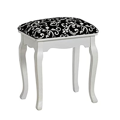 "ELEGANT STOOL ""BAROQUE"" for dressing table or piano upholstered from Xtradefactory black"