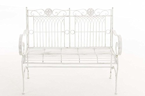 CLP Metall Gartenbank PURUSHA, 2-Sitzer, Landhaus-Stil, Eisen lackiert, Design nostalgisch Antik Weiß - 2