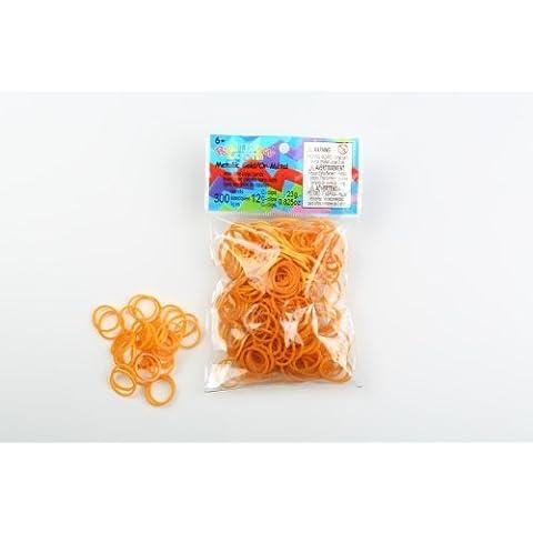 Rainbow Loom - Elásticos gomas, color oro metal