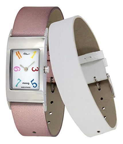 Moog Paris Classic Women's Watch with White Dial, Pink Strap in Genuine Leather - M41622-006