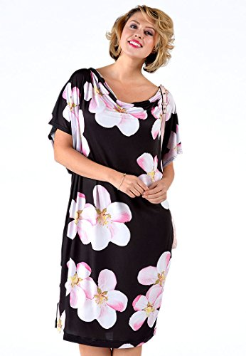 Yoek Damen Übergrößen Kleid mit Druck Blumen Schwarz Multi