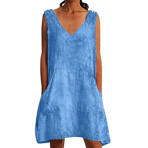 Kleid Damen Spitzenkleid Träger Rückenfreies Kleider Sommerkleider Strandkleider Weiß(Blau-1,Small) ()