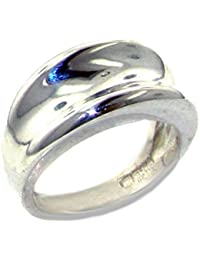 Solid 925 Sterling Silver Modern Contemporary Design Concave Ring