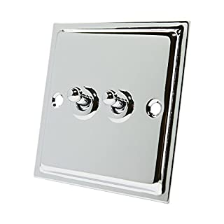 Slimline Polished Chrome 2 Gang Toggle Switch - 10 Amp Double 2-Gang 2 Way Dolly Light Switch