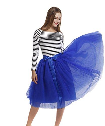 Petticoat 50er Jahre von COLLEER, Retro-Faltenrock perfekt zu Strick und Heels oder Sneakers, Unterrock für Hochzeit und Party Saphirblau