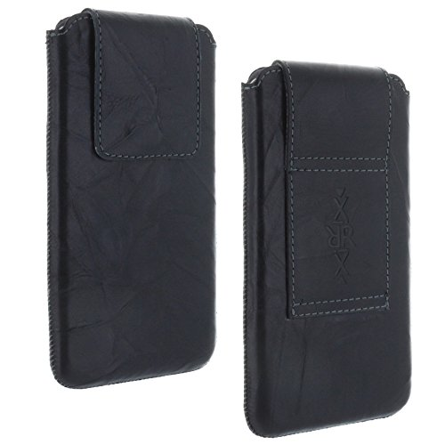 XiRRiX Echt Leder Gürtel universal Handytasche 3XL passend für Huawei Honor 8 9 / Samsung Galaxy A20e A40 A5 2017 J3 J5 S7 S10e - Handy Tasche schwarz