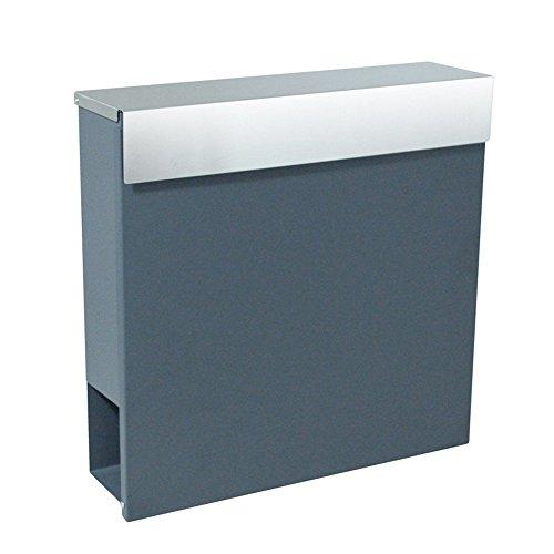 LZQ Zeitlosem Design Edelstahl Briefkasten, Wandbriefkasten mit Zeitungsfach, A4 Einwurf-Format, mit Sichtfenstern, Namensschild, Abschließbar mit 2 Schlüssel (B Type)