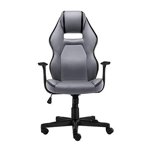 Bseack Drehstuhl Computer-Stuhl, Haushaltsergonomie E-Sports-Stuhl mit hoher Rückenlehne Multifunktionsfreier und ungepflegter Drehstuhl für Studentenheim des Network Club (Farbe : Gray) -