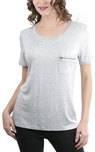 ToBeInStyle Women's Zipper Pocket Scoop Neck S.S. Tee - H Grey - Medium