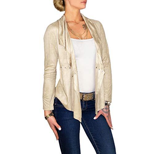 8480865c67eeca Bekleidung Damen Dresscode-Berlin DB Damen Weste im Boho Wildleder Look mit  Fransen in Camel Rose ...