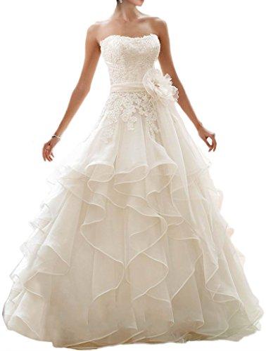 Milano Bride Prinzess Bandeau Spitze Organza Hochzeitskleider Brautkleider Brautmode Mehrlagig...