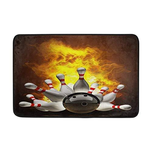 Bowling Ball Crashing in die Pins auf Feuer Art FußmattenFußmatte Fußmatte Teppich Innen/Fußmatten Willkommen Fußmatte 23.6