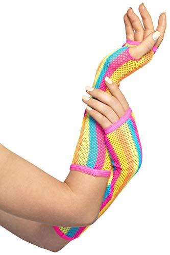 Smiffys Damen lange Netz-Handschuhe, Gestreift, One Size, Neon, 44635