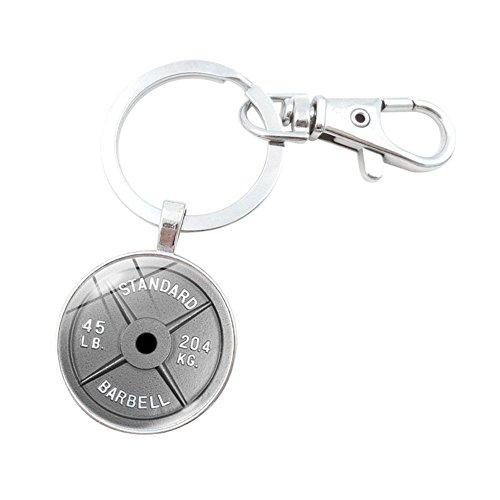 Fengteng Hantel Schlüsselanhänger, Rund Glas Gewicht Sport Fitness Schlüsselring (Silber)