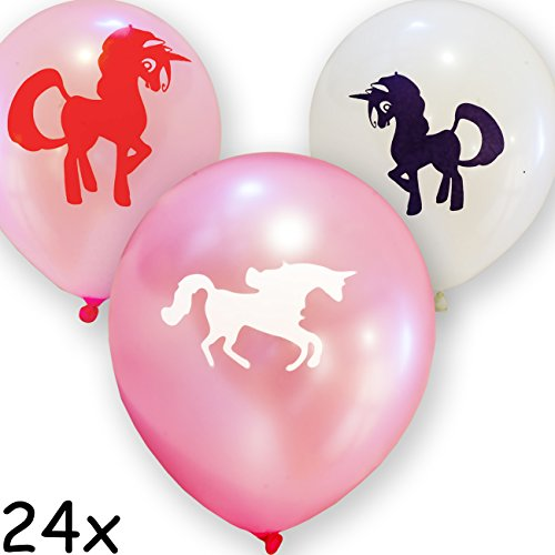 HOMETOOLS.EU – 24 Luftballons Einhorn Unicorn | 3 verschiedene Farben | 30cm