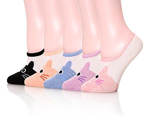 DOFUN Women Cartoon Animal Cute Liner Invisible No Show Low Cut Socks - Pack 5