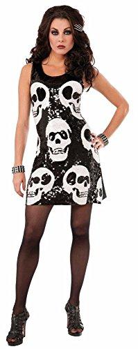 Forum Novelties Halloween Damen Kostüm Pailletten Kleid Totenkopf Gr.XS/S