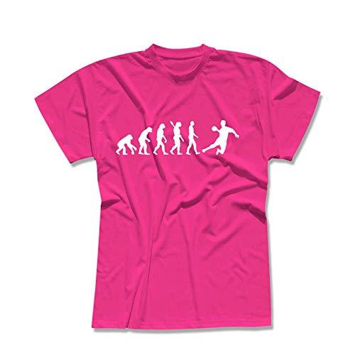 T-Shirt Evolution Handball DKB HBL Bundesliga THW Füchse Wetzlar Minden Lemgo Gummersbach Kreisläufer 13 Farben Herren XS-5XL, Größe:XS, Farbe:pink - Logo Weiss