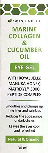 Marine Kollagen & Gurkenöl Auge Gel 30 ml - Natürliche & organische Anti-Aging Feuchtigkeitscreme und Faltenfüller mit Manuka Honig, Royal Jelly, Matrixyl, Gurkenöl und Hyaluronsäure
