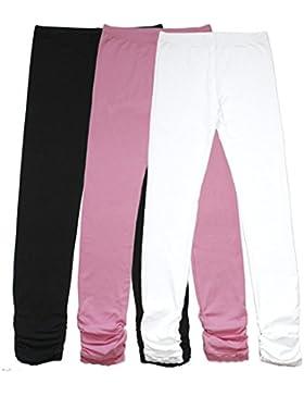 Bienzoe Mädchen Strick Baumwolle Stretch Schuluniform Spitze Antistatische Legging 3 Packung