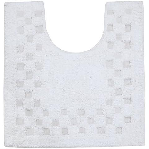 Homescapes scendibagno antiscivolo WC tappeto a quadri 45x 50cm 100% puro cotone assorbente & facile da pulire bianco