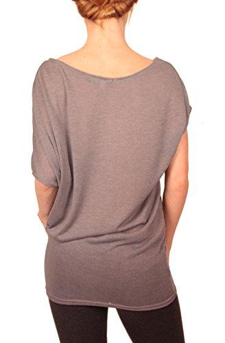Ella Manue Frauen Damen Oversize Long Top Shirt Lara Mittelgrau